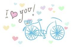 我爱你!与自行车的卡片 免版税库存图片