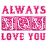 我爱你,妈妈逗人喜爱的手字法 在时髦薄菏和珊瑚颜色的母亲节问候 传染媒介现代书法 印刷 皇族释放例证