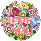 我爱你 圆的抽象背景由花、杯子、蝴蝶和鸟做成 免版税库存照片
