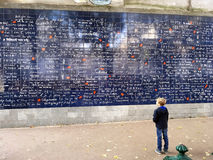 我爱你巴黎墙壁  库存照片