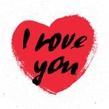 我爱你 心脏 情人节与书法的贺卡 设计被画的要素现有量 手写的现代刷子字法 图库摄影
