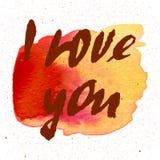 我爱你 心脏 情人节与书法的贺卡 设计被画的要素现有量 手写的现代刷子字法 库存图片