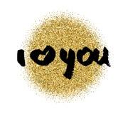 我爱你 心脏 情人节书法闪烁卡片 设计被画的要素现有量 手写的现代刷子字法 免版税库存图片