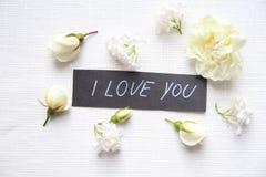 我爱你 空白的玫瑰 图库摄影