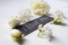 我爱你 空白的玫瑰 库存照片