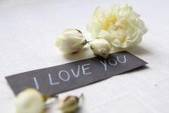 我爱你 空白的玫瑰 免版税库存照片