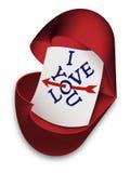 我爱你-箱子作为与文本的开放心脏 免版税库存图片