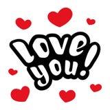 我爱你 美好的字法 库存图片