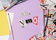 我爱你-赎金票据样式 图库摄影