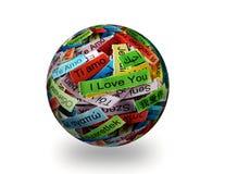 我爱你3d球形 图库摄影