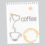 我爱咖啡笔记 免版税库存照片