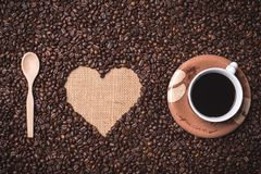 我爱咖啡顶视图 库存图片