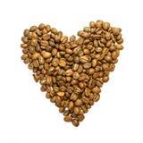 我爱咖啡-在心脏形状的咖啡豆 库存图片