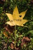 我爱在叶子写的秋天 库存图片