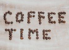 我爱在木背景的咖啡 库存图片