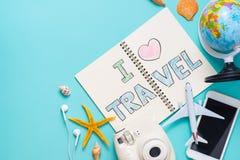 我爱在笔笔记本写的旅行 假期假日概念 图库摄影