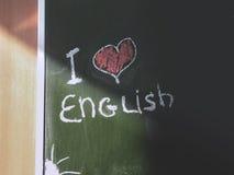 `我爱在黑板的英国`题字 图库摄影
