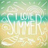 我爱夏天乱画 库存照片
