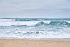 我爱夏天 沙滩和浪潮起伏的波浪 库存照片