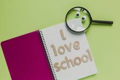 我爱学校信件由木头制成,在绿色背景安置的笔记本 库存照片