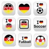 我爱德国橄榄球,被设置的足球按钮 免版税库存图片