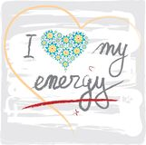 我爱我的与心脏和信件的能量词 库存图片