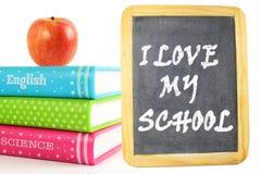 我爱我的学校写与白垩在学校黑板 库存照片
