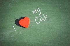 我爱手写我的汽车的词组 免版税库存图片