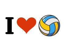 我爱排球 心脏和球 为体育迷象征 免版税库存图片