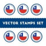 我爱智利被设置的传染媒介邮票 免版税库存照片