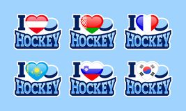 我爱曲棍球传染媒介贴纸 奥地利,白俄罗斯,法国,哈萨克斯坦,斯洛文尼亚,韩国国旗 体育海报 向量例证
