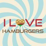 我爱汉堡包简单的减速火箭的背景口号eps10 免版税库存照片