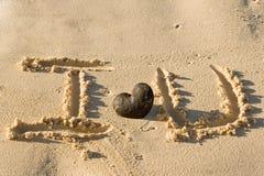 我爱沙子字的海滩writed您 免版税库存图片