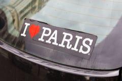 我爱法国汽车贴纸的巴黎首都 免版税图库摄影