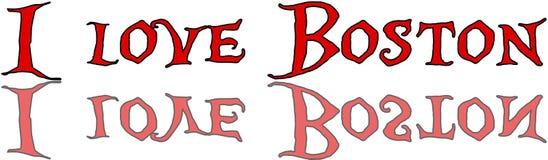 我爱波士顿文本标志例证 免版税库存照片
