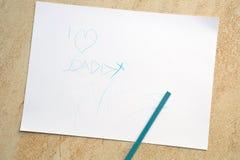 我爱爸爸孩子画 免版税图库摄影
