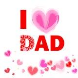 我爱爸爸愉快的父亲节卡片传染媒介 库存图片