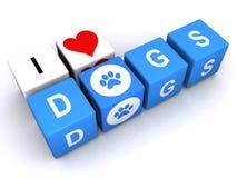 我爱狗标志 免版税库存图片