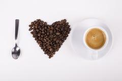 我爱由豆和咖啡做的咖啡 库存图片