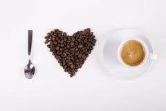 我爱由豆和咖啡做的咖啡 免版税图库摄影