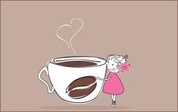 我爱的咖啡 皇族释放例证
