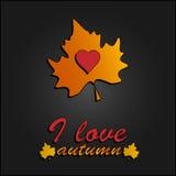 我爱的秋天 在秋叶的心脏标志 库存照片