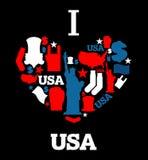 我爱的美国 美国传统民间字符的标志心脏 M 向量例证