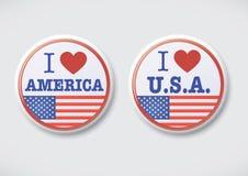 我爱美国。我爱美国-传染媒介按钮徽章 免版税库存照片