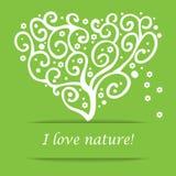 我爱自然心脏树标志 免版税库存图片