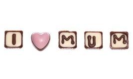 我爱被隔绝的妈咪巧克力 免版税库存照片