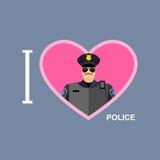 我爱警察 警察和心脏的标志 库存图片