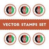 我爱阿富汗被设置的传染媒介邮票 免版税库存照片