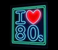 我爱霓虹的20世纪80年代 库存照片
