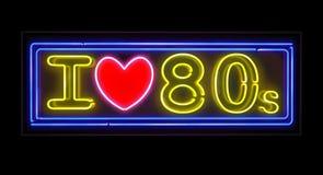 我爱20世纪80年代霓虹灯广告 图库摄影